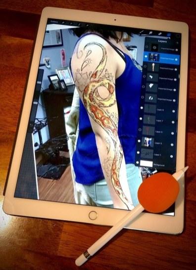 Tatuagem desenhada em iPad