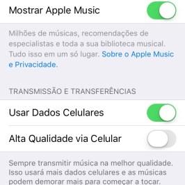 Tela de configuração do Apple Music