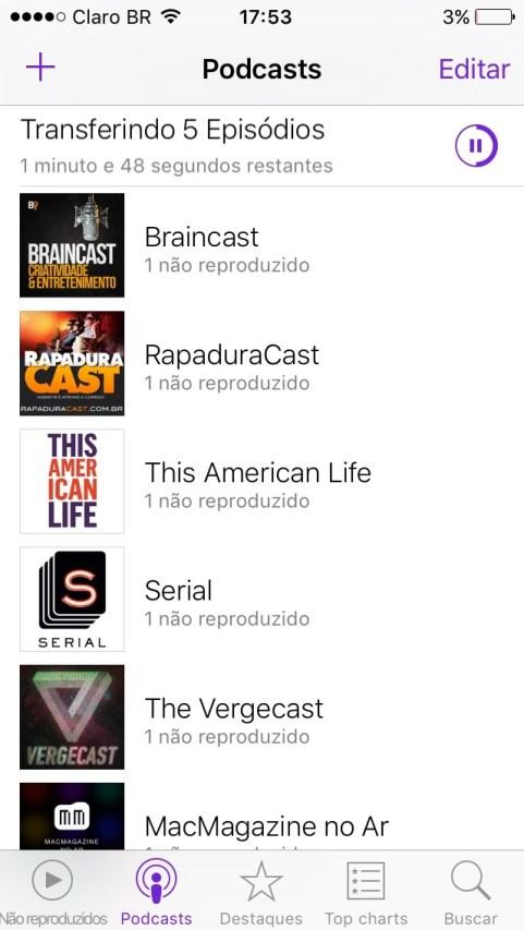 App Podcasts para iPhone no iOS 9