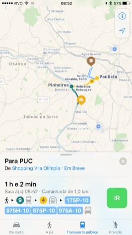 Rotas de transporte público para São Paulo no Apple Maps