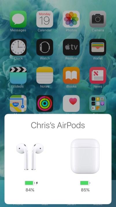 Informações da bateria dos AirPods no iOS