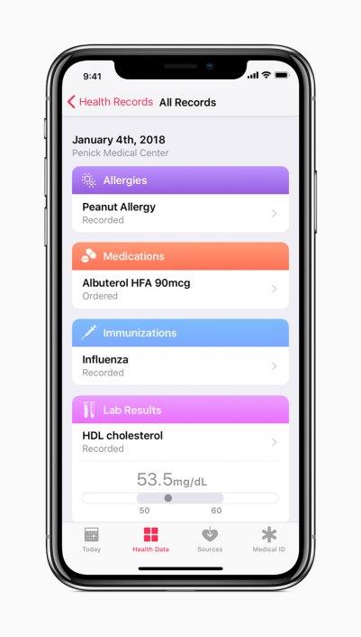 Registro de Saúde no iOS 11.3
