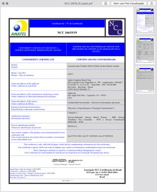 Certificado de homologação da Smart Battery Case do iPhone XS Max