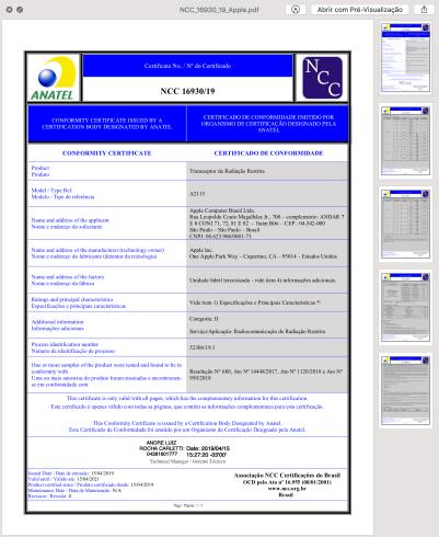 Certificado de Homologação - iMac (A2215)