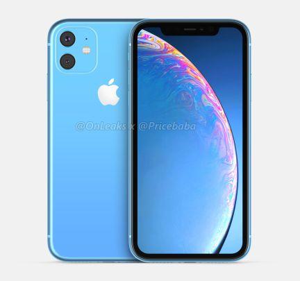 Render do sucessor do iPhone XR (azul)