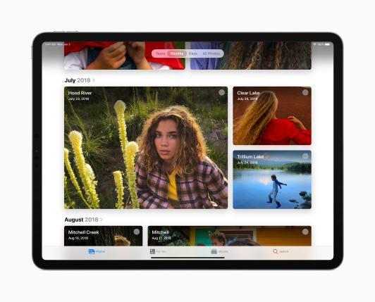 Navegação do Fotos no iPadOS 13