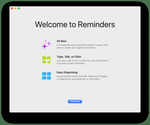 App Lembretes redesenhado no macOS Catalina