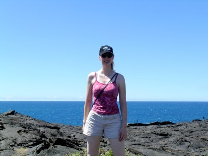 Sarah Standing on the Present-Day Lava Flow