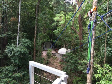 The giant hamster wheel is what sends people up the first zip line.