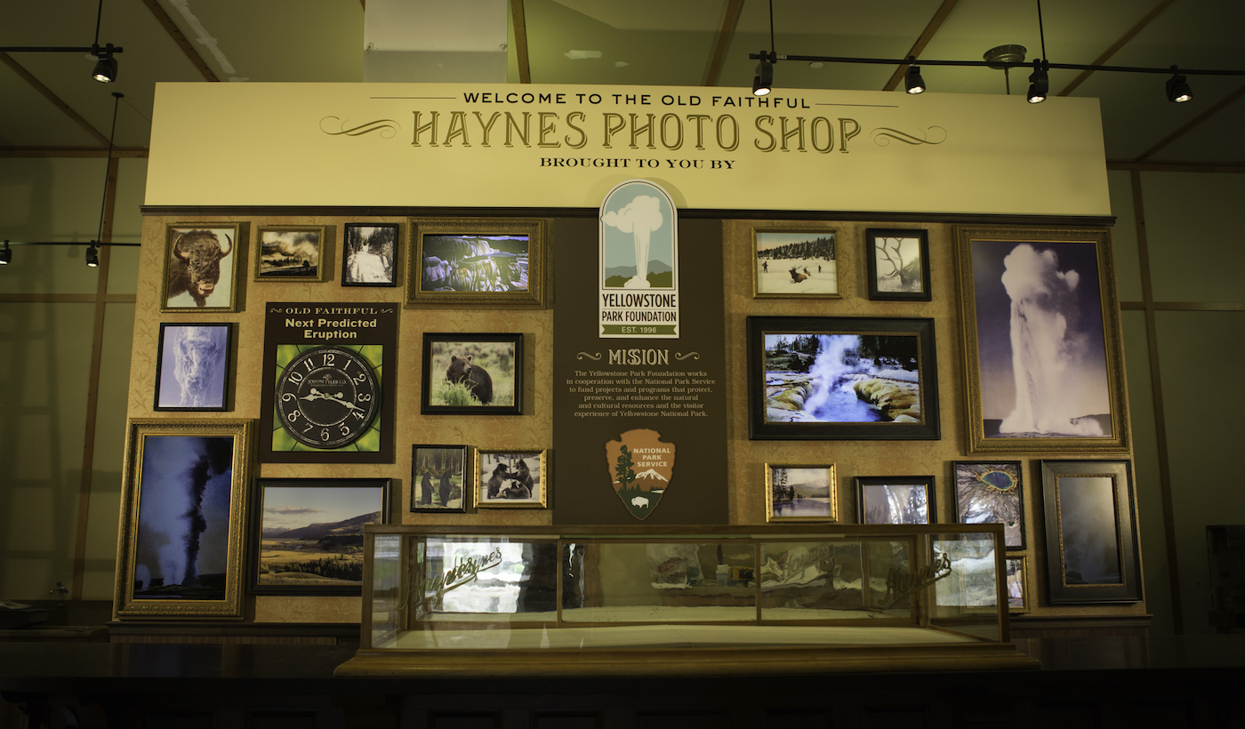 Photo of the welcome wall at the Haynes Photo Shop in Yellowstone Park.