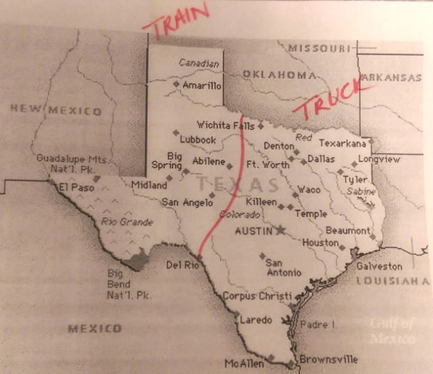 Texas Map showing rail vs. direct delivery.