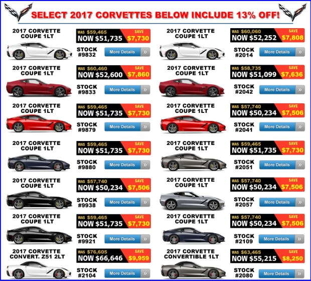 2017 Corvette Discounts - October