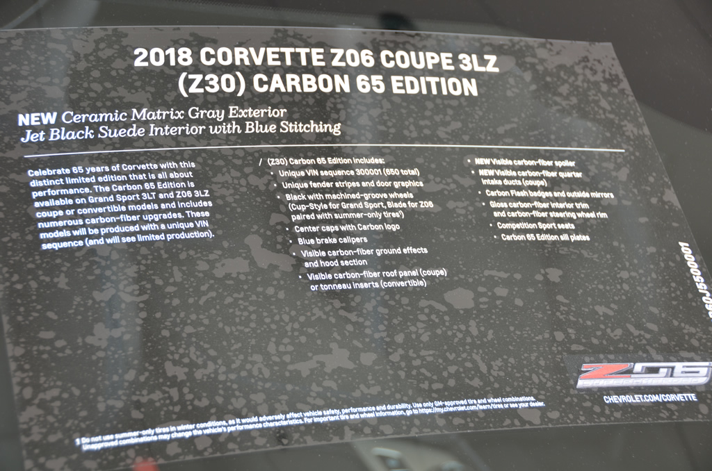 2018 Corvette Z06 3LZ Carbon 65 Edition