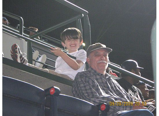 Dylan and Grandpa Bill at Atlanta's Turner Field on Monday night. It was Dylan's first major league baseball game with daddy, and the Braves won 4-0.