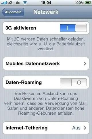 3G aktivieren - iOS-Einstellungen