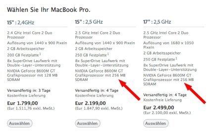 MacBook Pro in Deutschland mit weniger RAM?