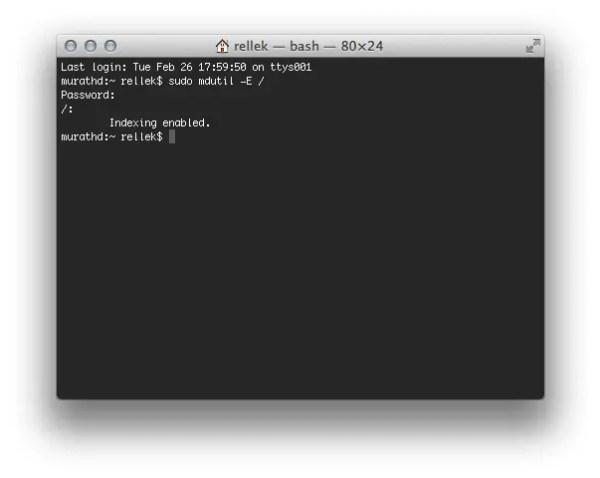 mdutil -E / - Screenshot
