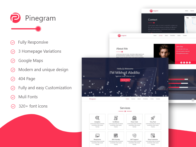 Pinegram - Multipurpose one page template