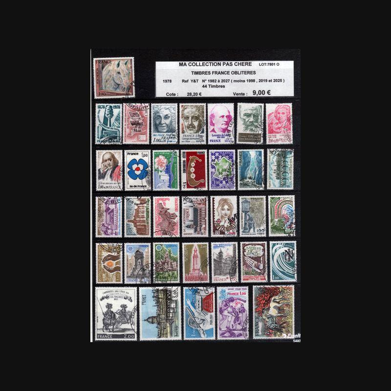 planche de 44 timbres obliteres 1978 ref y t n 1982 a 2027