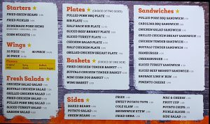 Georgia Bob's Menu Part 1