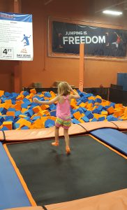 Isobel Deal preparing to jump into the block pit at Sky Zone. Photo courtesy Lauren Deal.