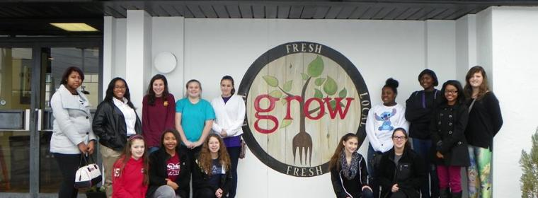 Girl Scout Troop 60667 at GROW in Macon learning about growing, harvesting, and preparing delicious locally grown foods