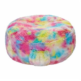 Inflatable Rainbow Faux Fur Stool