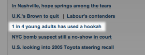 "Headline: ""1 in 4 young adults has used a hookah,"" from MSNBC website"