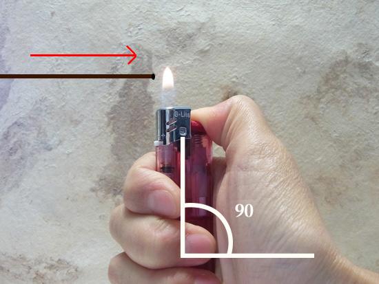 マクラメ基礎編 ライターと紐の角度
