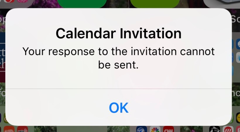 Calendar Invitation Your Response To The Cannot Be Sent