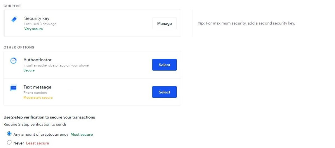 coinbase cryptocurrency security settings