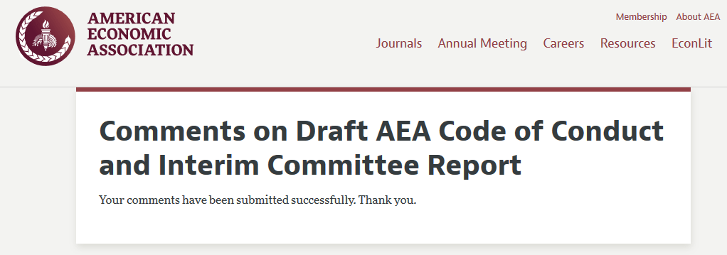 from the comments … mine on the AEA's code of conduct