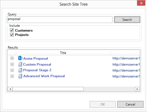 Customized Search Site Tree
