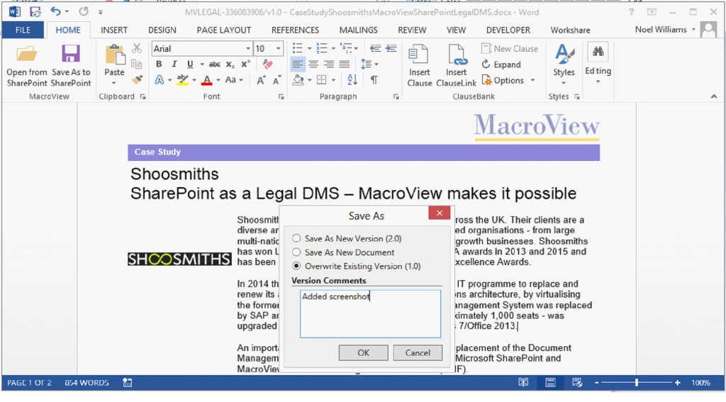 MacroView DMF provides familiar options for versioning of a Word document