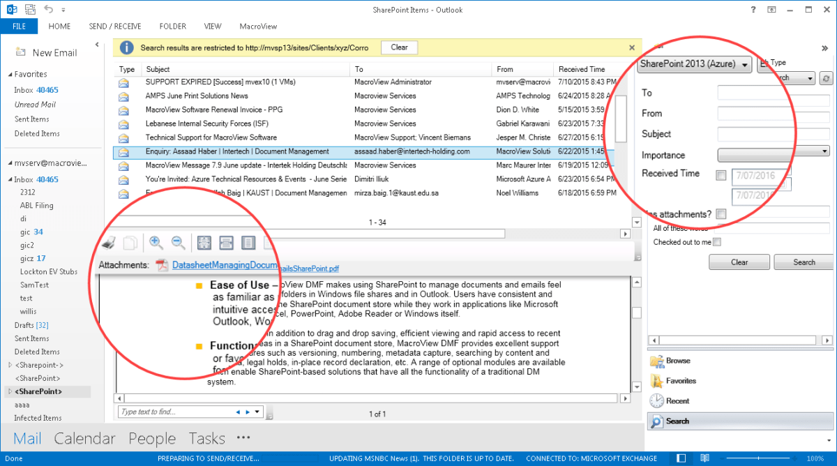 MacroView Email Search panel - note results list and preview of selected result.