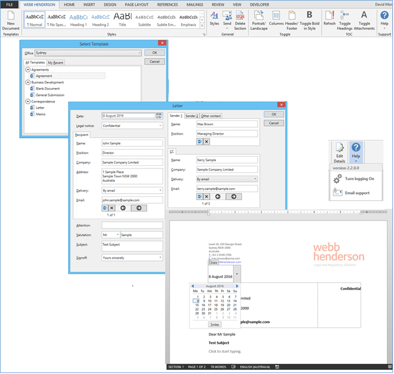 Figure 3: Images from Webb Henderson custom Office templates solution.
