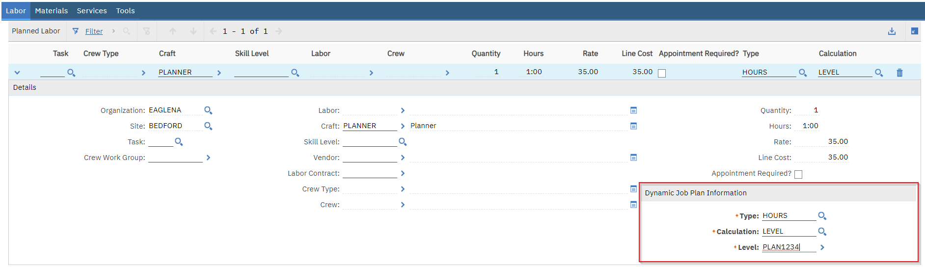 Screenshot of a level-based job plan in Maximo