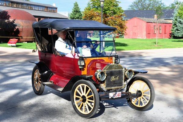 Brass Model T Ford Touring on the street