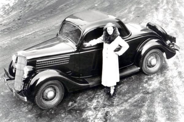 1935 Ford Three-Window Coupe woman overhead