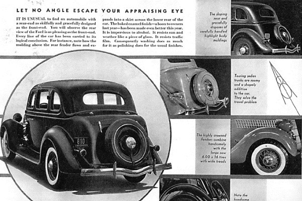 1935 Ford Touring Sedan brochure views