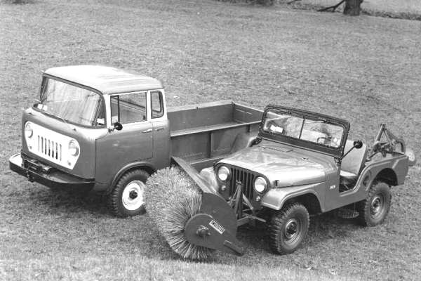 FC Willys pickup and Jeep with brush