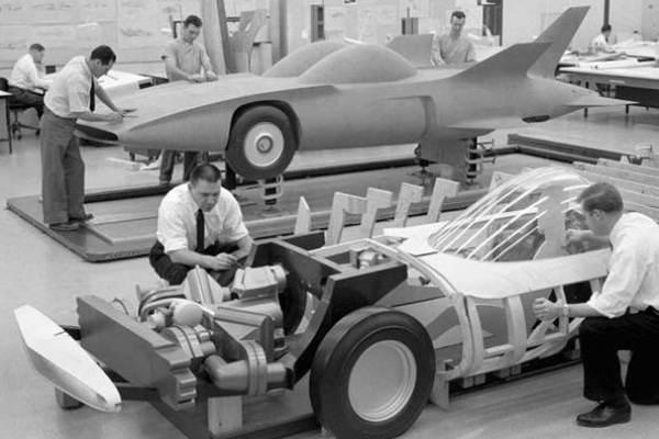 1958 GM Firebird III wood mockup and clay model