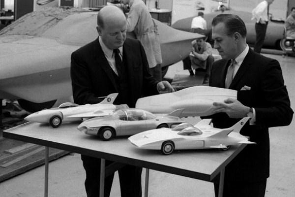 Bill Mitchell with Firebird models