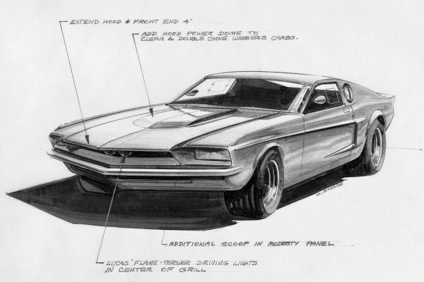 1967 Mustang Mach 1 sketch