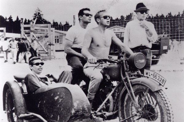 on the set of The Great Escape with Coburn, McQueen, and Sturges