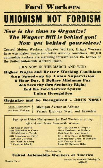 1937 UAW handbill