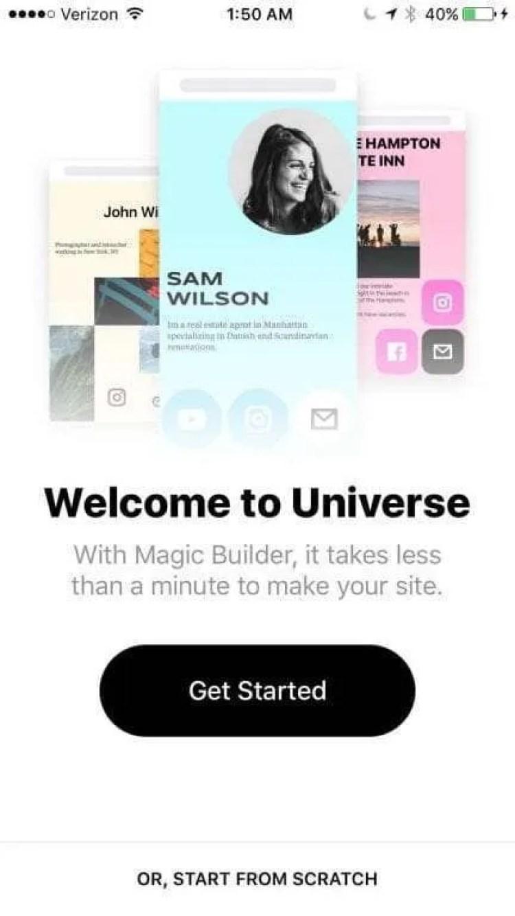 Universe — Website Builder iOS App REVIEW