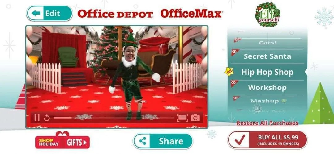Facebook App Elf Yourself