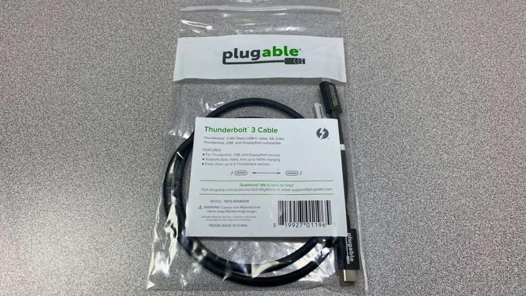 Plugable 0.8m Thunderbolt 3 Cable REVIEW