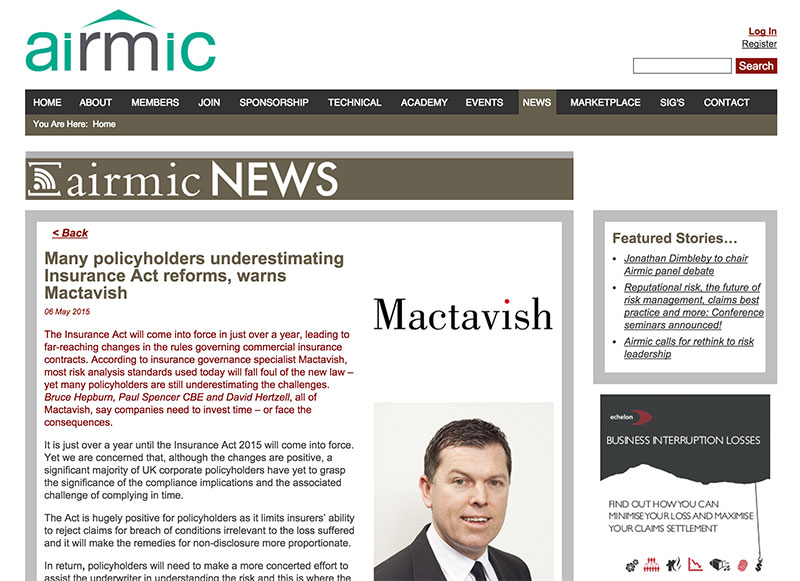 Mactavish article on Insurance Act challenges featured in the May 2015 edition of Airmic News